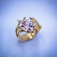 14k Gold with 4.5ct Trillion Morganite 01333GM - $2,650.00