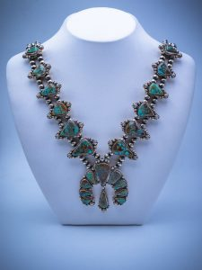 64002 - Bill/Necklace/Silver/Squash/King's Manassa (Colo's Turquoise)/Navajo Pearls ($3,295.00)